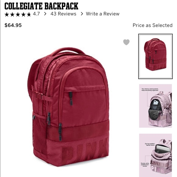 bc06a49ee3 VS PINK COLLEGIATE BACKPACK MORE POCKETS THAN EVER